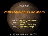 Flying along Vallis Marineris on Mars [7kb]