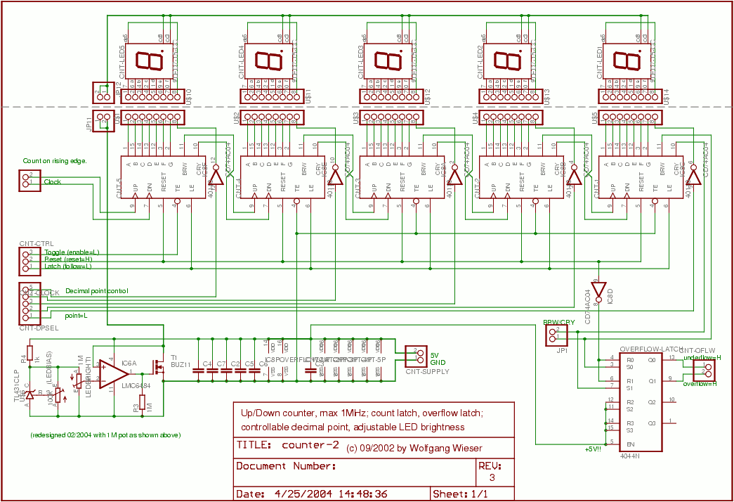 Counter Circuit Schematic : Frequency counter schematic