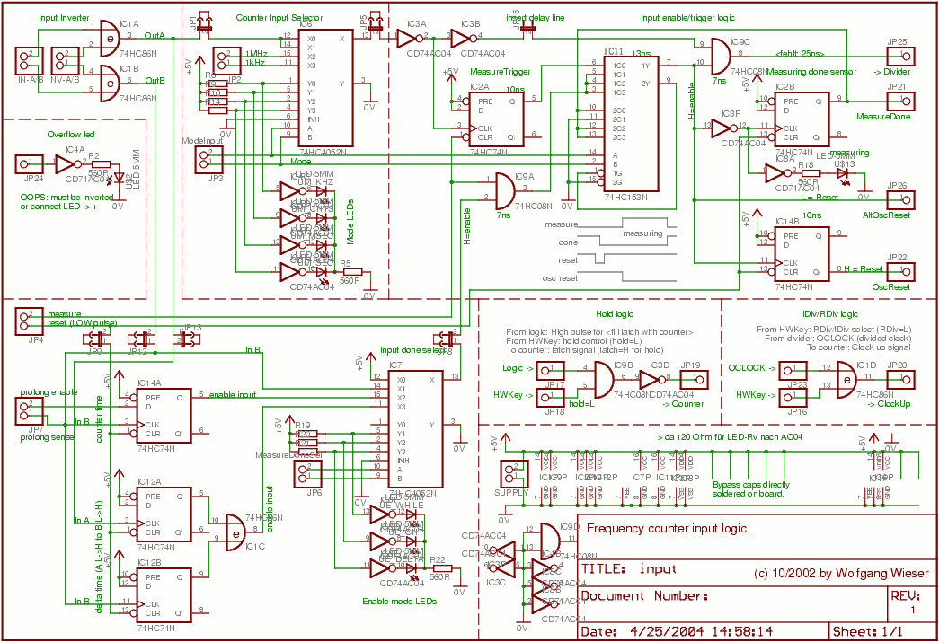Frequency Counter Preamplifier Circuit : Frequency counter input schematic