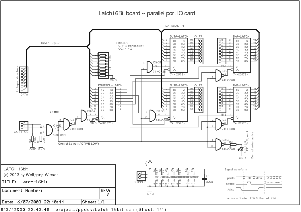 latch16bit board  circuit sheet